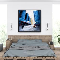 Framed 36 x 36 - Blue buildings