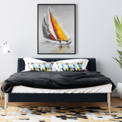 Framed 36 x 48 - Two colors sailing boat