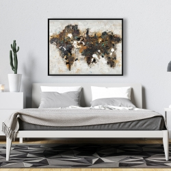 Framed 36 x 48 - Abstract world map with typography