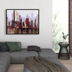 Framed 36 x 48 - Industrial city style