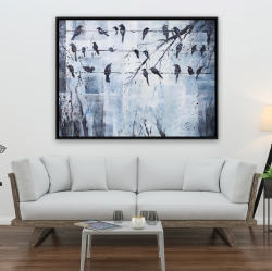Framed 36 x 48 - Abstract birds on electric wire