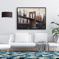 Framed 36 x 48 - Urban brooklyn bridge