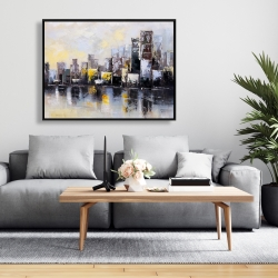 Framed 36 x 48 - Abstract city in the morning
