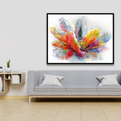 Framed 36 x 48 - Abstract flower with texture