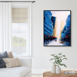 Framed 36 x 48 - Blue asymmetrical street