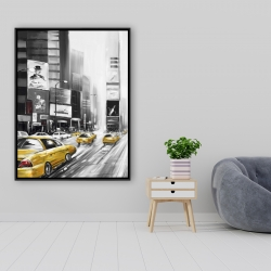 Framed 36 x 48 - Times square and yellow taxis