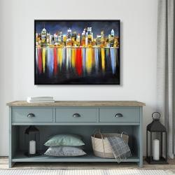 Framed 36 x 48 - Colorful reflection of a cityscape by night