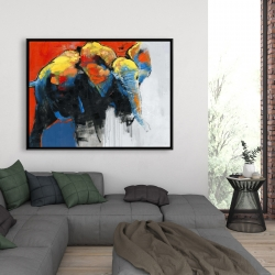 Framed 36 x 48 - Colorful abstract moving elephant