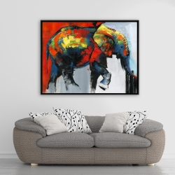 Framed 36 x 48 - Abstract and colorful elephant in motion