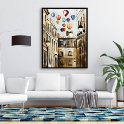 Framed 36 x 48 - Gloomy street with colorful hot-air balloons