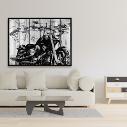 Framed 36 x 48 - Motorcycle grey and black