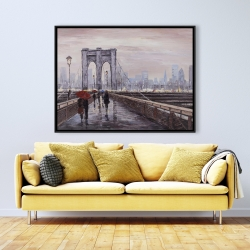 Framed 36 x 48 - Brooklyn bridge with passersby