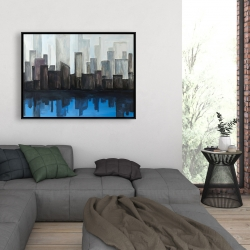 Framed 36 x 48 - View of a blue city
