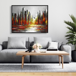Framed 36 x 48 - Abstract red skyline