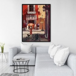 Framed 36 x 48 - Lady walking with her dog