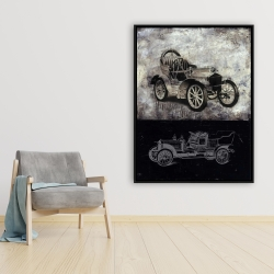 Framed 36 x 48 - Sketch of a vintage car
