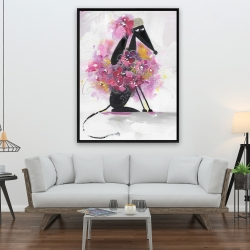 Framed 36 x 48 - Cartoon dog with pink flowers