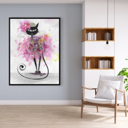 Framed 36 x 48 - Cartoon cat with pink flowers