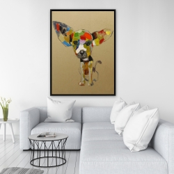 Framed 36 x 48 - Abstract colorful chihuahua