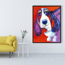 Framed 36 x 48 - Abstract colorful basset dog