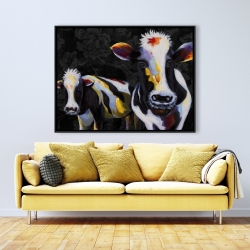 Framed 36 x 48 - Two funny cows victorian
