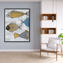 Framed 36 x 48 - Fishes' illustration