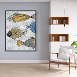 Framed 36 x 48 - Fishes' illustration
