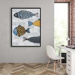 Framed 36 x 48 - Illustration of nautical fish