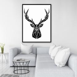 Framed 36 x 48 - Geometric deer head