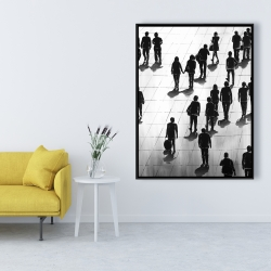 Framed 36 x 48 - Silhouettes of people on the street