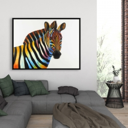 Framed 36 x 48 - Colorful profile view of a zebra