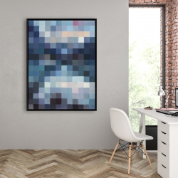 Framed 36 x 48 - Pixelated mountainous landscape