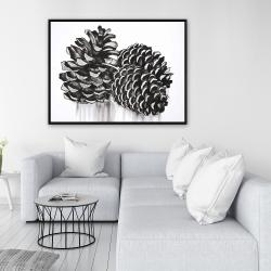 Framed 36 x 48 - Three small pine cones