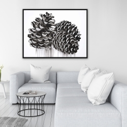 Framed 36 x 48 - Three small pine cones