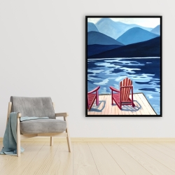 Framed 36 x 48 - Lake, dock, mountains & chairs