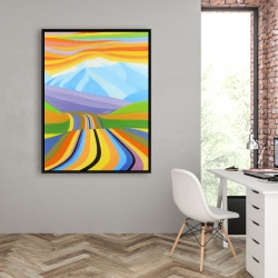 Framed 36 x 48 - Mountain road multicolored