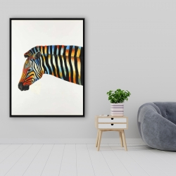 Framed 36 x 48 - Colorful zebra