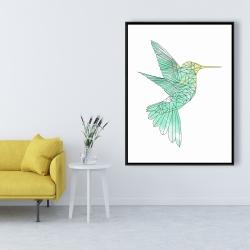 Framed 36 x 48 - Geometric hummingbird