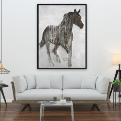 Framed 36 x 48 - Abstract brown horse