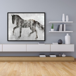 Framed 36 x 48 - Horse brown silhouette