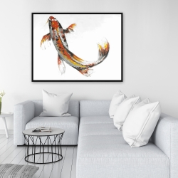 Framed 36 x 48 - Butterfly koi fish