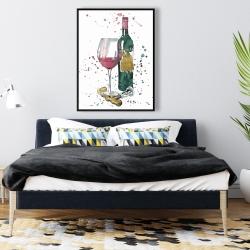 Framed 36 x 48 - Bottle of red wine