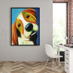 Framed 36 x 48 - Colorful beagle dog