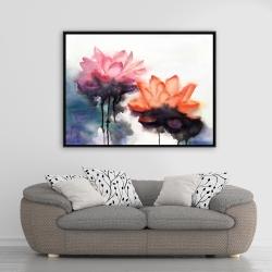 Framed 36 x 48 - Watercolor lotus flowers