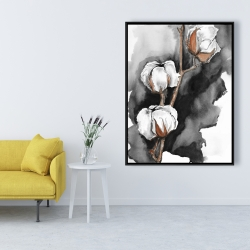 Framed 36 x 48 - Cotton flowers on a black background