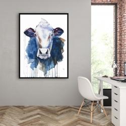 Encadré 36 x 48 - Vache à l'aquarelle