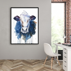 Framed 36 x 48 - Watercolor cow