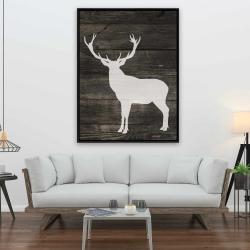 Framed 36 x 48 - Deer silhouette on wood