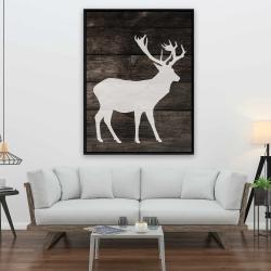 Framed 36 x 48 - Deer on wood background