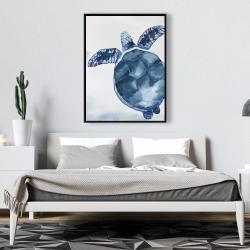 Framed 36 x 48 - Watercolor blue turtle